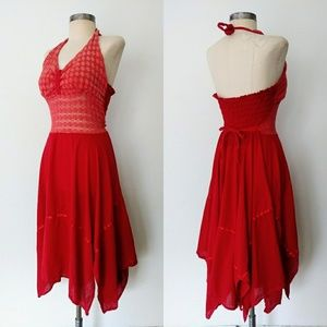 70s Lipstick Red Smocked Halter Pixie Sun Dress